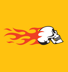 flaming skull retro hot rod motorcycle design vector image