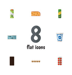 Flat icon food set of yogurt tin tuna packet vector