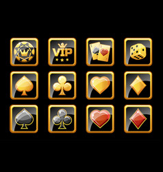 Glass golden and black casino icons poker game vector