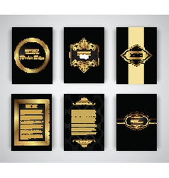 Gold and black brochure and menu templates vector image