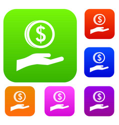 hand and dollar coin set collection vector image