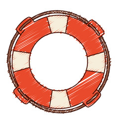 Hand colored drawing of flotation hoop with rope vector