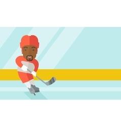 Hockey player at rink vector
