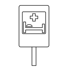 Hospital road sign icon outline style vector