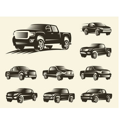isolated monochrome pickup trucks logo set cars vector image