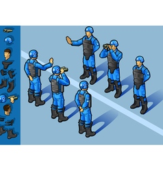 isometric set of military peacekeepers standing vector image