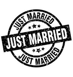 Just married round grunge black stamp vector