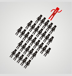 leadership concept - the crowd of workers follows vector image