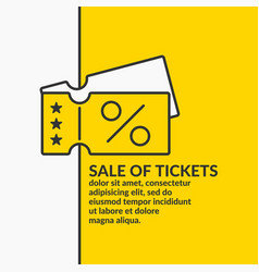 Linear poster sale of tickets graphics vector
