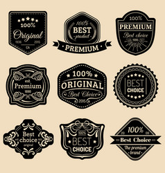 Premium logos set best choice emblems quality vector