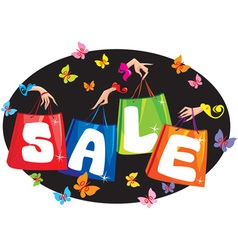 Sale concept with pockets and hands vector image vector image