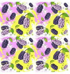 Seamless pattern mulberry fruits summer ornament vector
