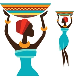 Silhouette of african girl which carries basket vector