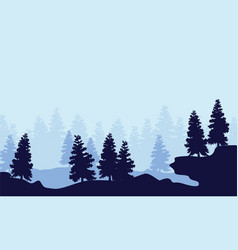 Silhouette spruce forest scenery collection vector