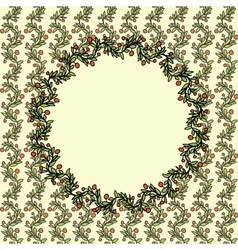 Vintage doodle Christmas background with berries vector image vector image