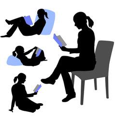 Woman reading book silhouettes vector
