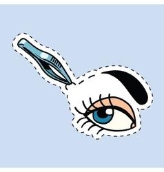 Woman tweezing her eyebrows vector image vector image