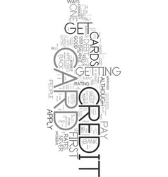 Your first credit card text word cloud concept vector