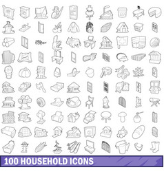 100 household icons set outline style vector