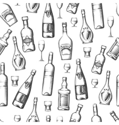 Seamless pattern with alcoholic drinks vector