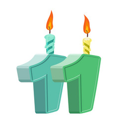 11 years birthday number with festive candle for vector