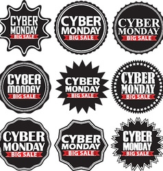 Cyber monday big sale black signs set vector