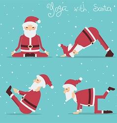 Santa Claus doing yoga holiday vector image