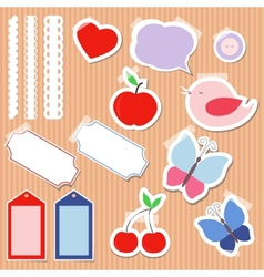 Set of cute scrapbook elements vector