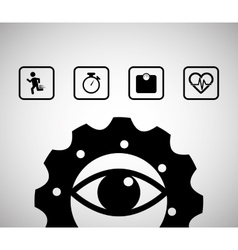 Eye gear sport healthy icons vector