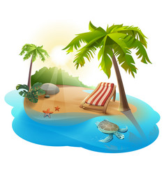 summer rest chaise lounge under palm tree on vector image