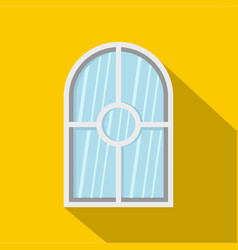 white arched window icon flat style vector image