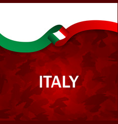 italy sport style flag ribbon camouflage style vector image