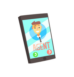 Smartphone with agent male avatar on the screen vector