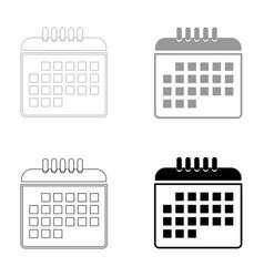 Calendar the black and grey color set icon vector
