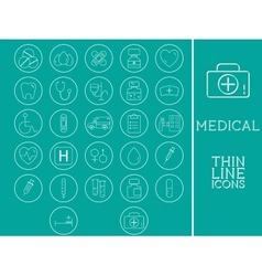 Outlined medical and healtcare icons set vector