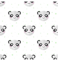 Flat cartoon panda heads seamless pattern vector