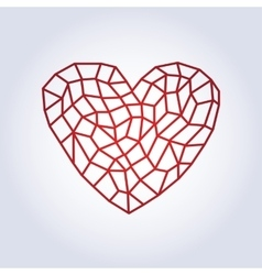 Polygonal linear red heartlow poly style vector
