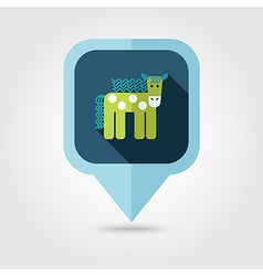 Horse flat pin map icon map pointer vector