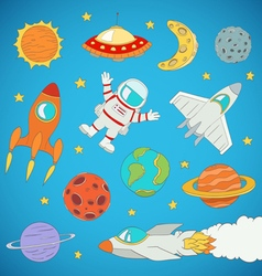 Astronaut planets rockets vector