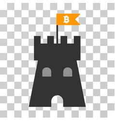 Bitcoin fortress tower icon vector