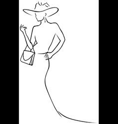 Black lines woman vector