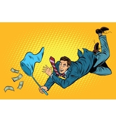Business man catching money with a butterfly net vector