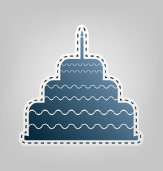 Cake with candle sign blue icon with vector