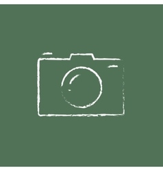 Camera icon drawn in chalk vector