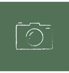 Camera icon drawn in chalk vector