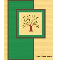 Card with a tree on wooden background vector image