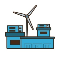 Cartoon building factory wind turbine clean energy vector