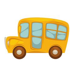 Cartoon compact yellow school bus with big windows vector