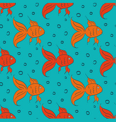 cartoon gold fish vector image