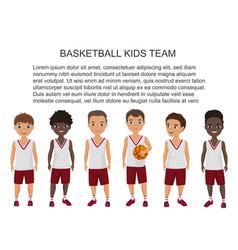 cartoon school basketball kids team in vector image vector image
